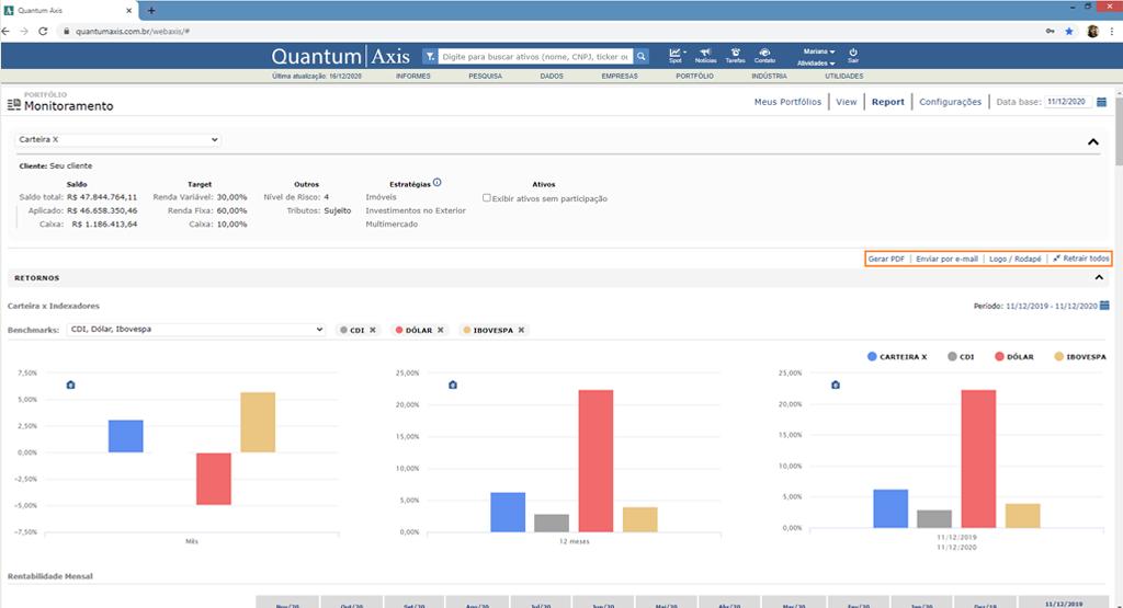 Quantum Monitoramento e consolidação de carteiras _ tela 3